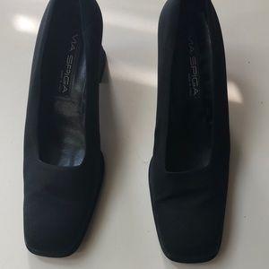 Shoes - Black Via Spiga fabric block heel pump